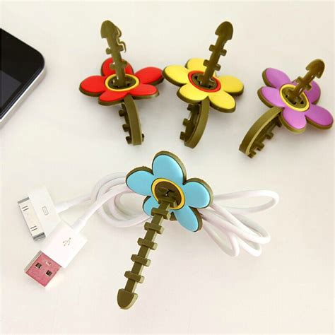 Diskon Xiaomimi Earphone Cable Holder Blue 2pcs cord winder soft flower tidy earphone organizer holder wire sawtooth storage wrap cable