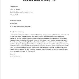 Complaint Letter For Billing Error formal official and professional letter templates