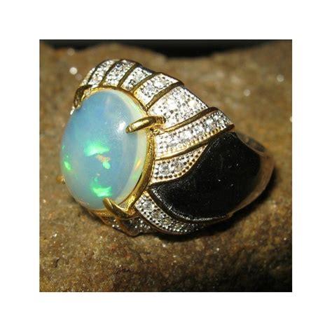Cincin Titanium Silver Permata Pelangi cincin opal silver 925 ring 8us untuk pria ada hasil cek asli