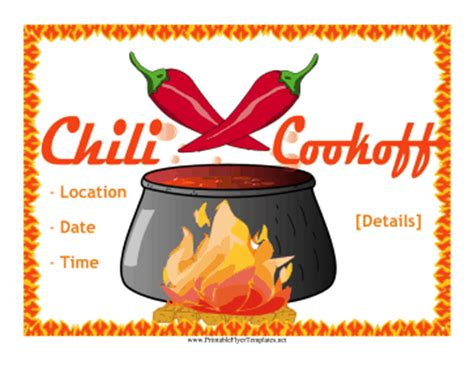off flyer advertise your chili cook off with this fiery potluck flyer