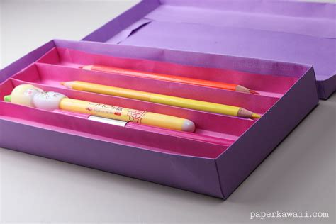 Origami Paper Tray - origami pencil tray with 4 sections tutorial paper kawaii