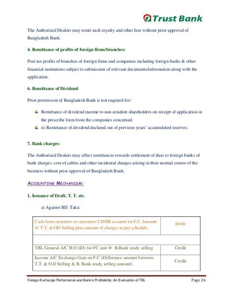 internship evaluation report sle internship report trust bank foreign