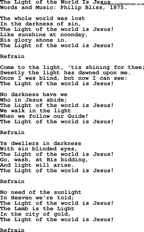 Jesus Is The Light Song by The Light Of The World Is Jesus By Philip Bliss
