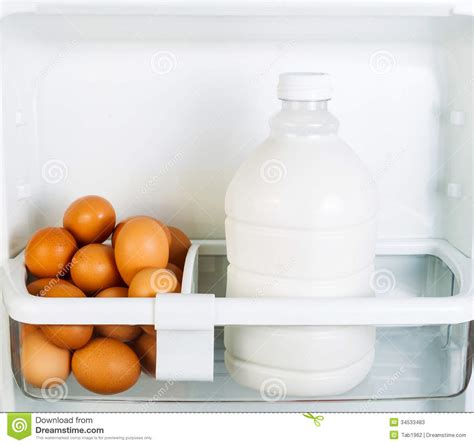 Organic Milk Longer Shelf by Fresh Food On Refrigerator Door Shelf Stock Image Image