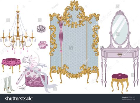decor items dressing room victorian style stock vector
