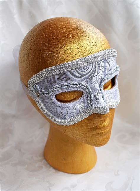 Handcrafted Masks - s white silver handmade masquerade mask by daragallery