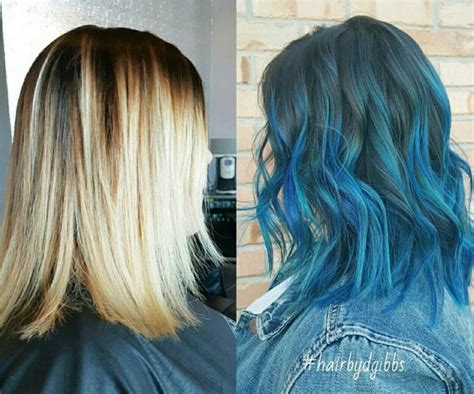 shoulder length ombre balayage balayage with blue
