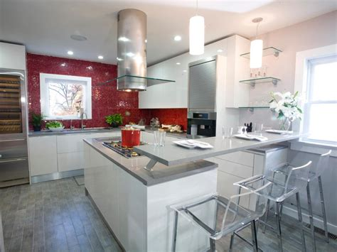 modern kitchen with red accent backsplash and island decoist best colors to paint a kitchen pictures ideas from hgtv