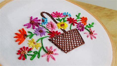 design a flower basket hand embroidery flower basket designs www imgkid com