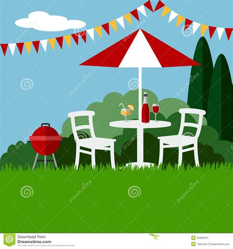 Summer Garden Party Barbecue Background, Flat Design