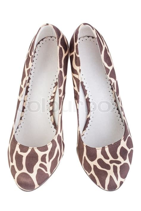 giraffe print slippers giraffe print high shoes stock photo colourbox