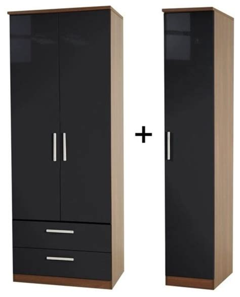 Modern Armoire Wardrobe by Knightsbridge Black 2 Drawer Wardrobe Modern