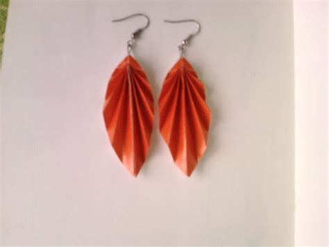 Origami Leaf Earrings - how to make japanese origami leaf earrings all