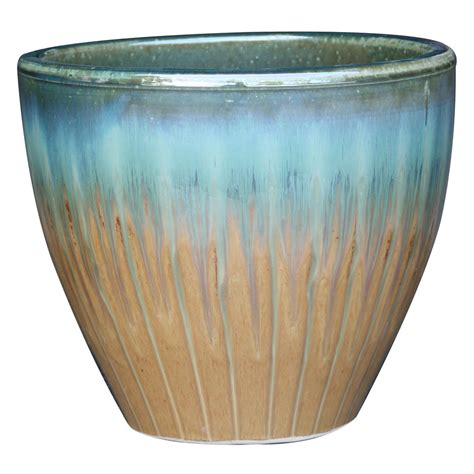 Pottery Planters by Shop Garden Treasures 15 1 In X 15 2 In Blue Ceramic