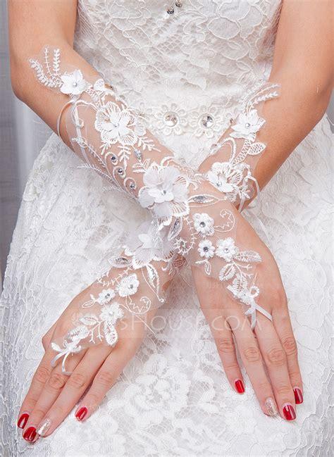 Flower Wedding Gloves tulle bridal gloves 014132827 gloves jjshouse