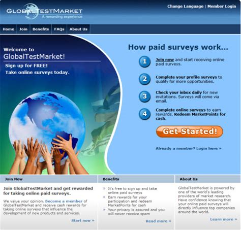 global test globaltestmarket best paid survey rewarding