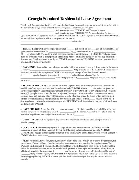 Rental Agreement Letter Ga free rental lease agreements residential commercial word pdf eforms free