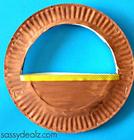 Paper Basket Craft - 3d paper plate easter basket craft for crafty morning