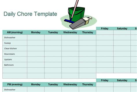 Chore Card Template by Chore Sheet Checklist My Excel Templates