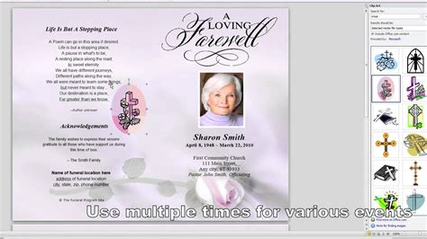 how to customize a funeral program template youtube