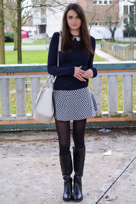 s navy crew neck sweater white and black gingham