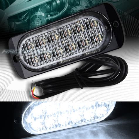 and white led strobe light 12 led car truck emergency beacon hazard warning flash