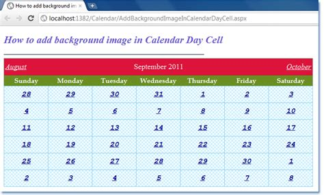 Calendar Add Images Add Background Image In Asp Net Calendar Day Cell