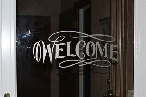 Etched With Vinyl Etsy - welcome vinyl glass door or window decal etched glass