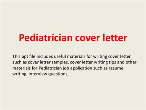pediatric cover letter pediatrician cover letter