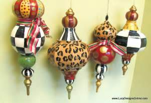 hand painted christmas ornaments black and white checks