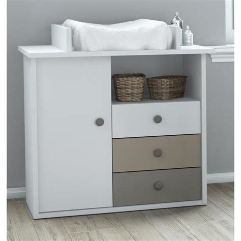 Commode à Langer by Plage Commode 224 Langer Coloris Blanc Basalte Et Argile
