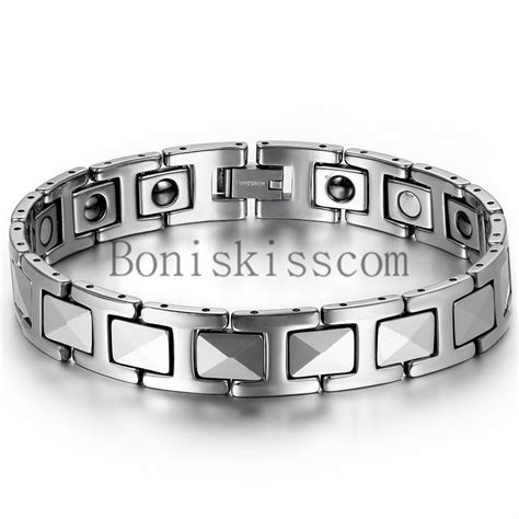 Bracelet Magnetic Tungsten Cramic Kesehatan Black Silver 1 s silver tungsten carbide link high power therapy magnetic bracelet 8 7inch ebay