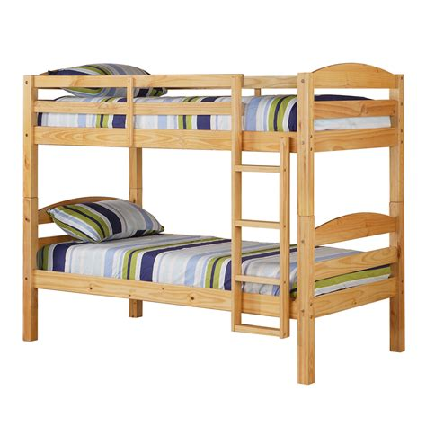 Walker Edison Solid Wood Twin Natural Bunk Bed Home Wood Bunk Beds
