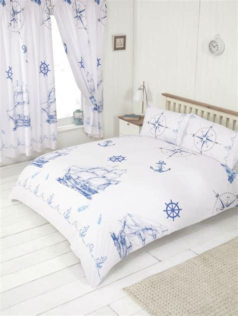 Nautical Boat Ship Lighthouse Design White Blue Bedding