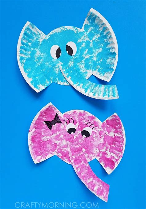 Elephant Papercraft - paper plate elephant craft crafty morning