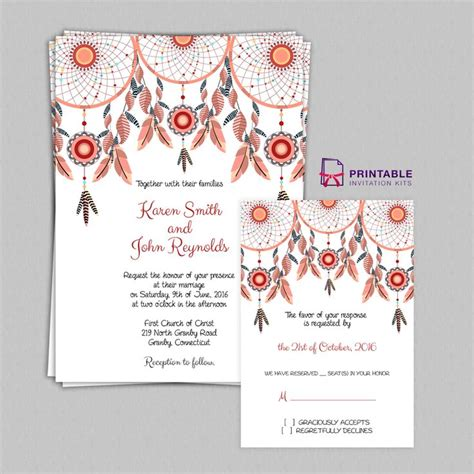 Free Pdf Boho Theme Dreamcatchers Wedding Invitation And Rsvp Templates Free To Download Easy Free The Invitations Template