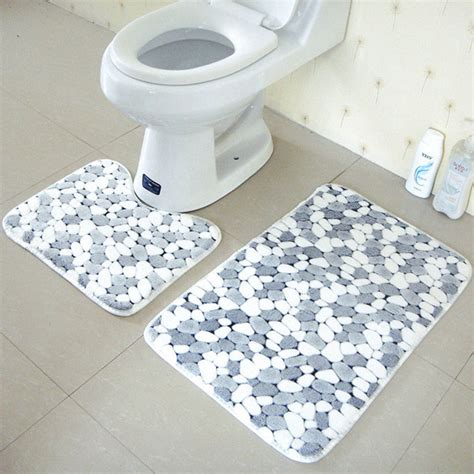 Bathroom Floor Rugs Aliexpress Buy 2pcs Set Pvc Mesh Thicken Coral Fleece Floor Bath Mats Set Non Slip