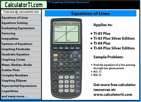 slope calculator ti tutorials slope intercepts and equation of a line
