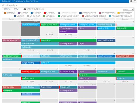 Where Is Calendar In Office 365 Office 365 Calendar App For Sharepoint Virtosoftware