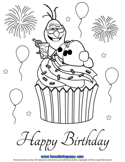 happy birthday olaf coloring page free coloring pages of olaf in summer