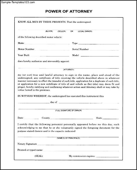 free printable power of attorney template free blank power of attorney form sle templates