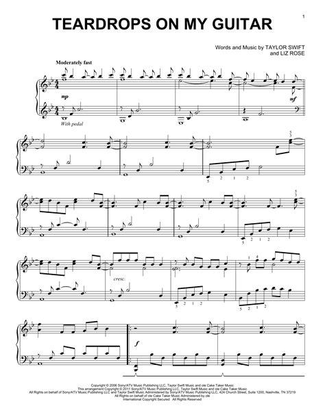taylor swift chords teardrops on my guitar teardrops on my guitar sheet music by taylor swift piano