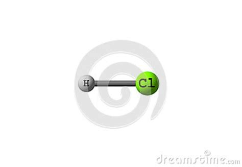 How Is Formula At Room Temperature by Hydrogen Chloride Molecular Structure On White Stock