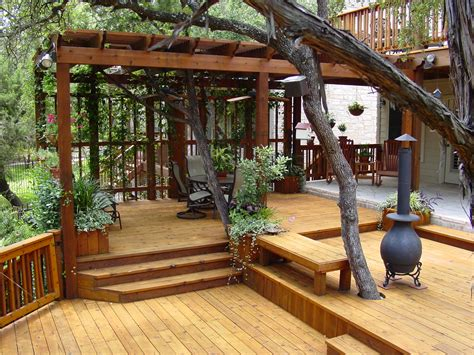 multi level deck with a pergola only problem i can see is