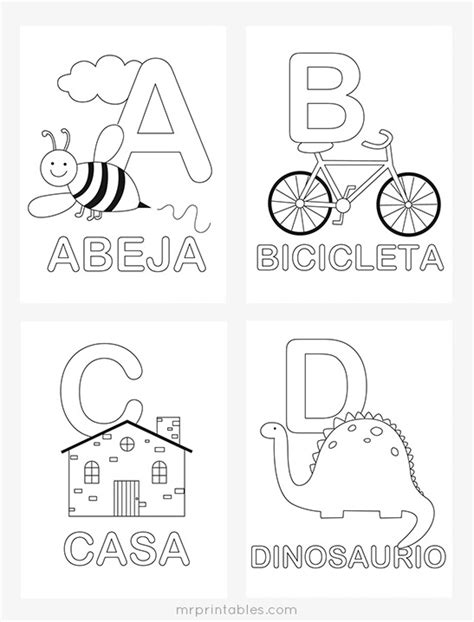 printable coloring pages in spanish spanish alphabet coloring pages mr printables