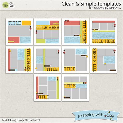 scrapbook layout templates 12x12 digital scrapbook template clean and simple scrapping