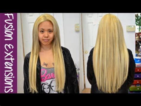 hairstyles for bonded extentions keratin hot fusion hair extensions application blonde