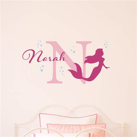 mermaid wall sticker mermaid wall decal with bubbles initial name personalized