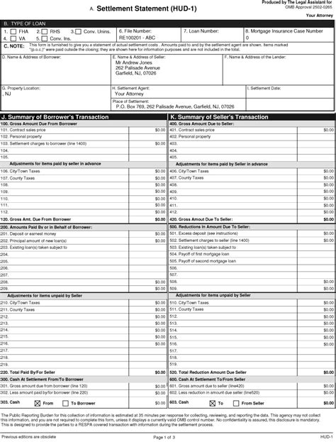 New Hud 1 Settlement Statement Form Free Settlement Statement Template
