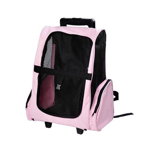 puppy bags pawhut travel pet carrier oxford puppy trolley luggage bag rolling back pack ebay
